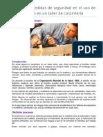 Normas o medidas de seguridad en el uso de herramientas en un taller de capacitaciòn de carpintería