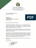 Danilo Medina envía carta de condolencias a Enrique Peña Nieto