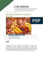 Hidratos de Carbono NUTRICION