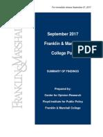 F&M Poll Release September 2017