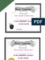 Best Teacher Certificate