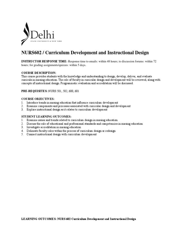 Nurs 602 Course Syllabus Fall 2017 Instructional Design Curriculum