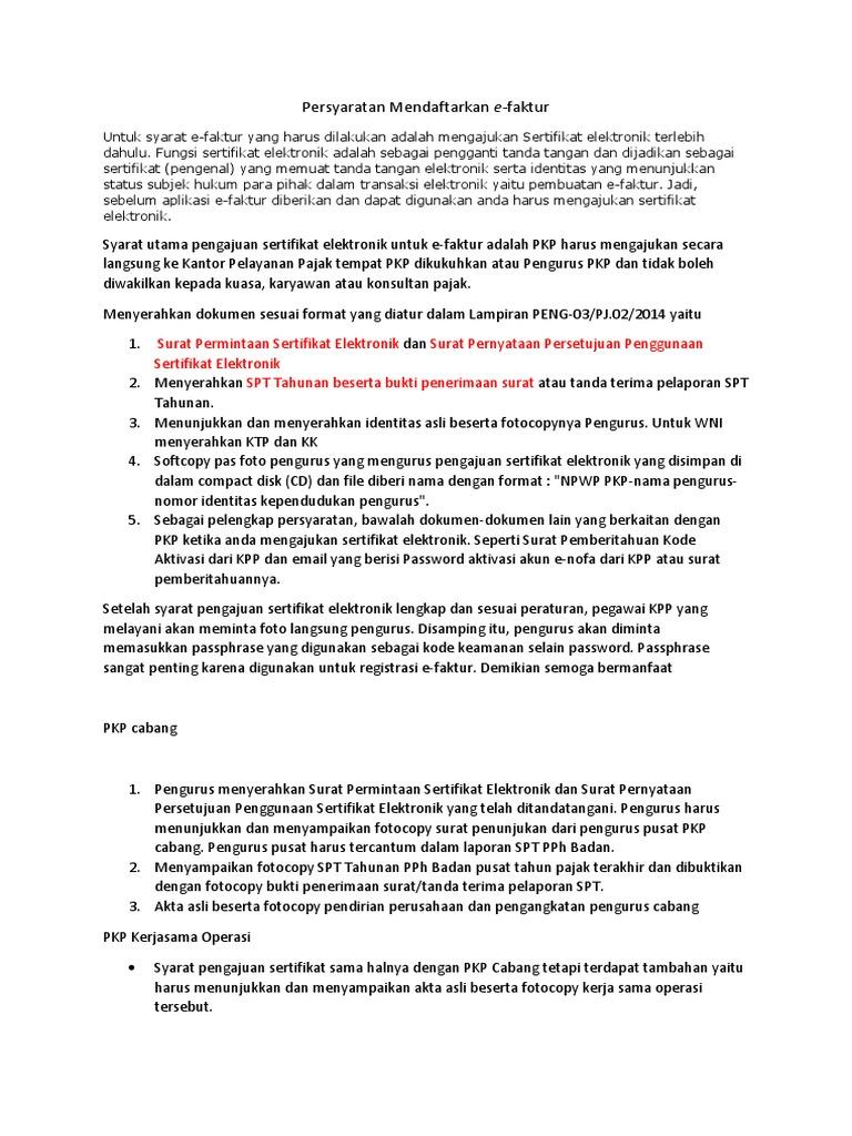 Persyaratan Mendaftarkan E Faktur