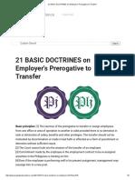 21 BASIC DOCTRINES on Employer's Prerogative to Transfer