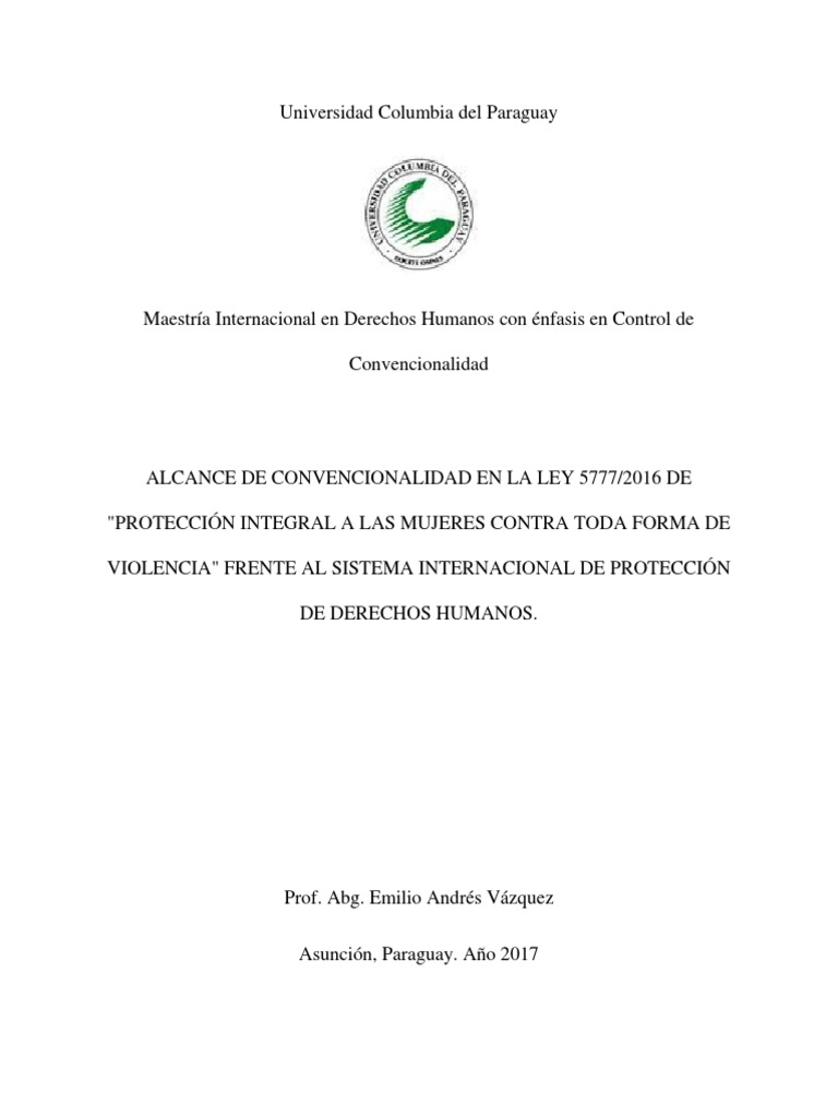 Alcance de convencionalidad de la Ley 5777/2016 (Paraguay) de ...