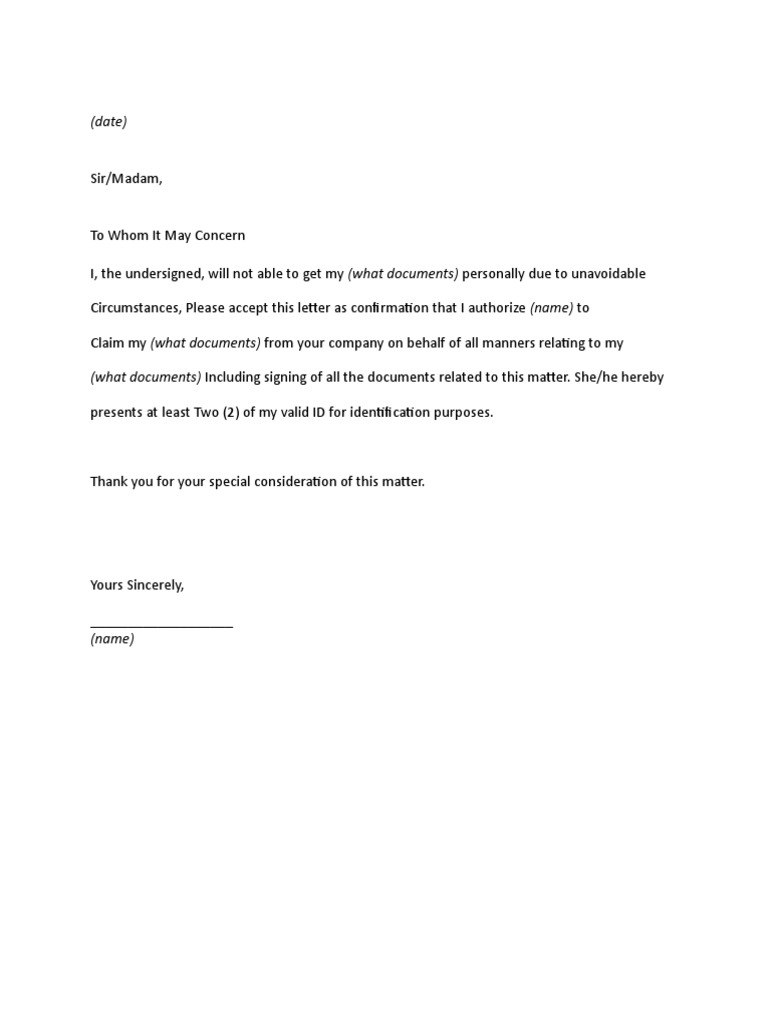 Authorization letter to pick up yadclub Gallery