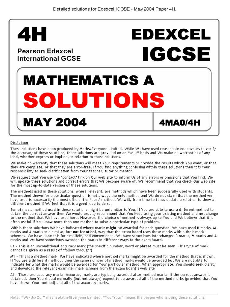 edexcel igcse may 2013 math 4h answer