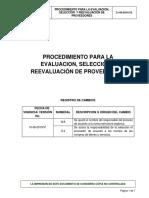 Procedimiento de Evaluacion Seleccion y Reevaluacion de Proveedores V2