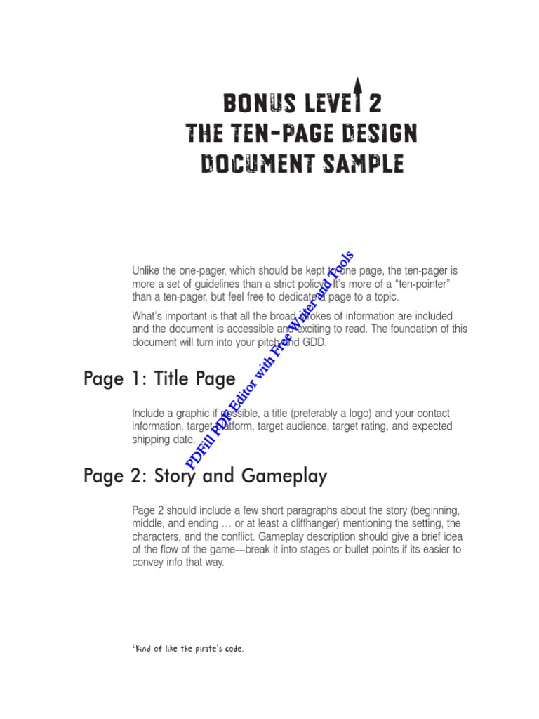 The TenPage Design Document Sample Video Game Gameplay - Gdd game design document example