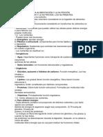 Resumen Tema 2 La Alimentación y La Nutrición