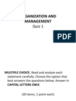 Organization and Management Quiz 1