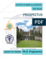 Phd Prospectus January, 2017 Aiims