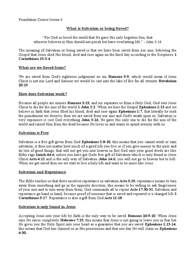 Lesson 4 Salvation | Repentance | Salvation