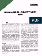 Behavioral Objectives - No!