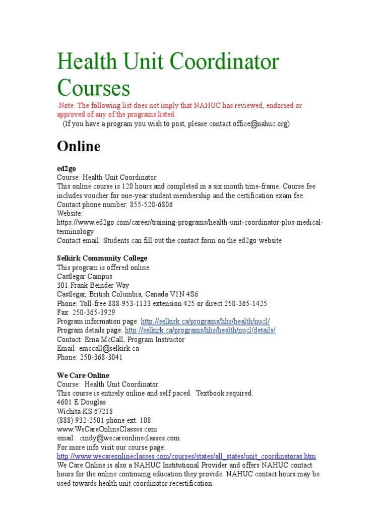 Health Unit Coordinator Courses   Minnesota   Nursing