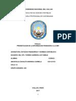 PRESENTACION DE LA INFORMACION FINANCIERA A LA SMV