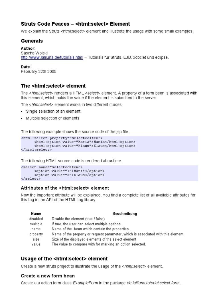 Struts HTML Select En | Java Server Pages | String (Computer ... on