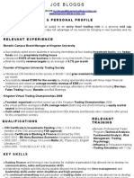 Perfect Trading CV Sample