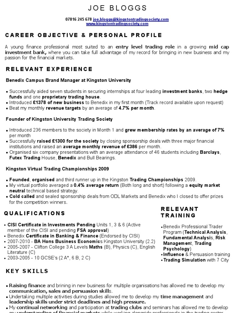 Perfect Trading CV Sample Investment Banking