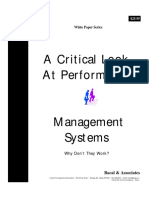 A Critical Look at Performance Management Systems - Why They Don't Work
