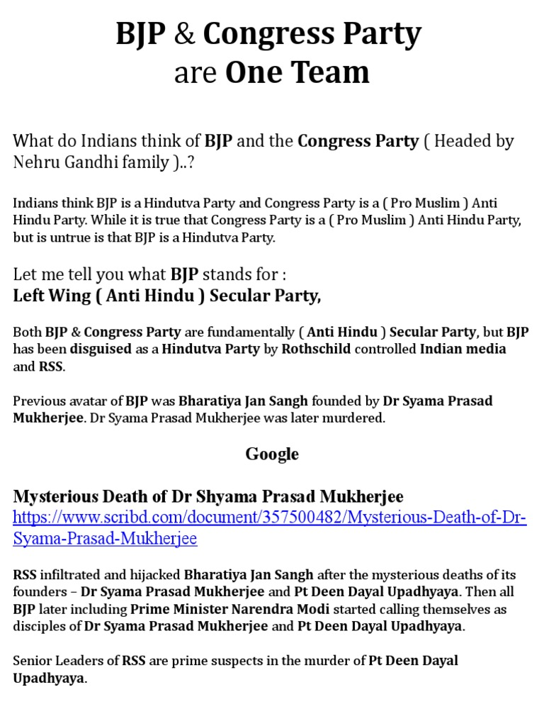 Bjp Congress Party Are One Team Bharatiya Janata Party