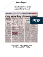 The Times of India - News Report - Congress Leader's Diary on Payoffs to Top Politicians in India