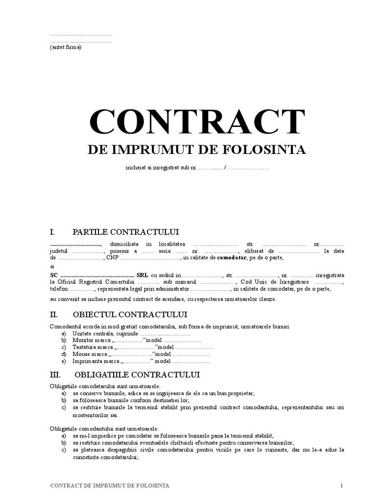 Contract de împrumut proz