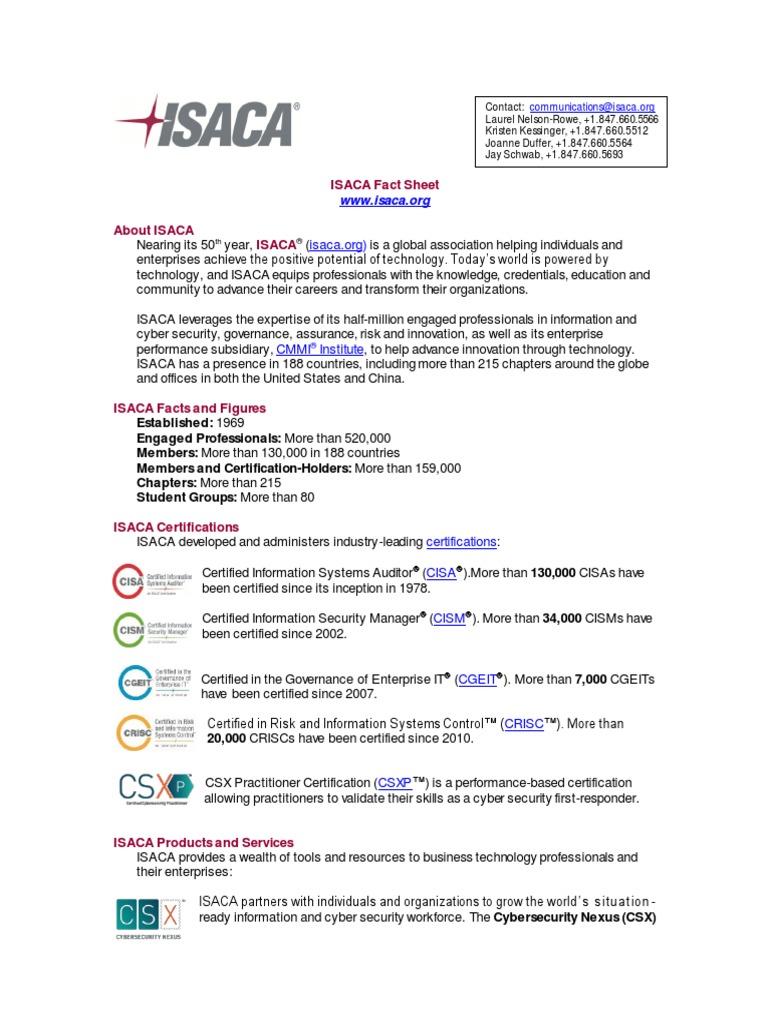 2017 Isaca Fact Sheetpreeng0517pdf Certification Computer