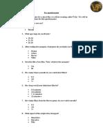 Pre Questionnaire