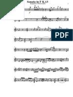 Sonate in F Kv.13 Violin (Flute) Part