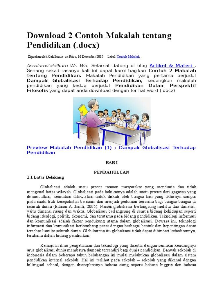 Download 2 Contoh Makalah Tentang Pendidikan Docx