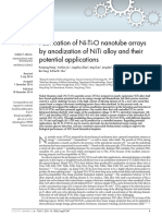 Fabrication of Ni-Ti-O Nanotube Arrays by Anodization of NiTi Alloy and Their Potential Applications