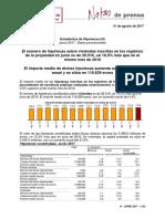 Estadística de Hipotecas (Junio de 2017)