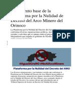 Documento base de la Plataforma por la Nulidad de Decreto del Arco Minero del Orinoco.docx