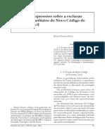 Primeiras Impressões sobre a Exclusão de Alguns Institutos no Novo CPC
