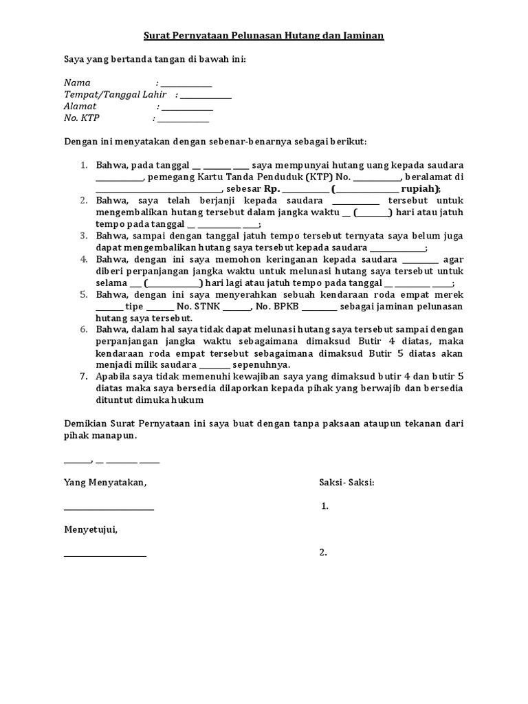 Surat Pernyataan Pelunasan Hutang Dan Jaminan