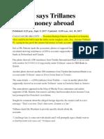 Duterte Says Trillanes Hiding Money Abroad