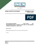 2117-2013 Transformadores. Relación de Transformación, Verificación de La Polaridad y Desplazamiento Angular.