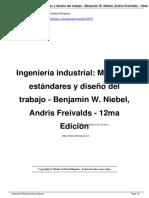 Ingenieria Industrial Metodos Estandares y Diseno Del Trabajo Benjamin W Niebel a29055