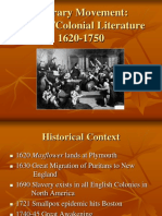 Literary Movement Puritan Colonial Literature 1620-1750