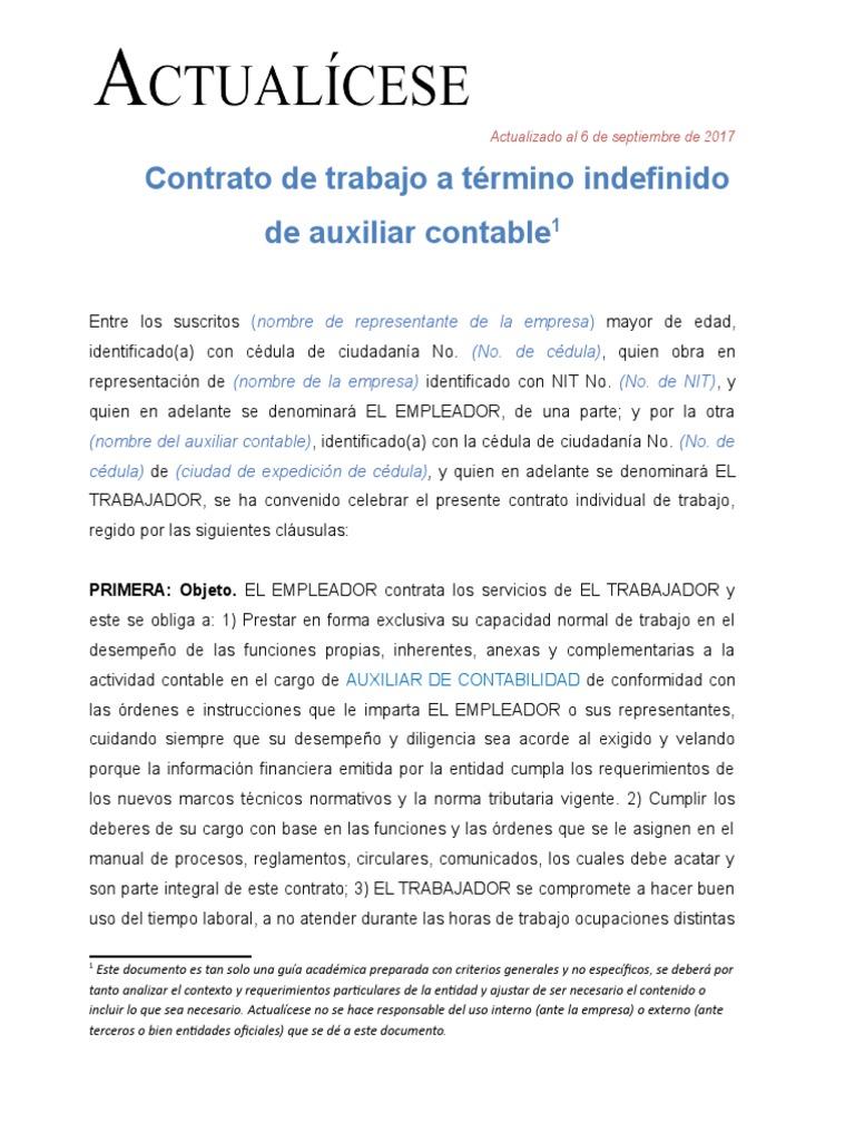 Contrato de Trabajo Auxiliar Contable