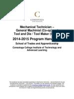 Mechanical Technician (GM - T&D - TM) Program Handbook 2014-2015