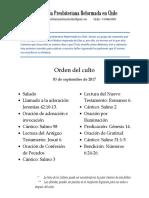 2017-09-03 - Orden Del Culto