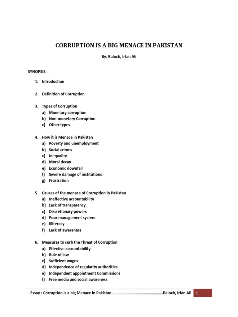 Corruption Is A Big Menace In Pakistan  Corruption   Corruption Is A Big Menace In Pakistan  Corruption  Political  Corruption Importance Of Good Health Essay also George Washington Essay Paper  Thesis Essay