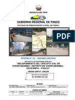 PIP. Perfil Mejoramiento del Circuito Vial de Chontabamba. Código SNIP N° 238195