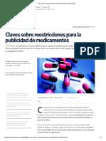 Claves Sobre Reestricciones Para La Publicidad de Medicamentos