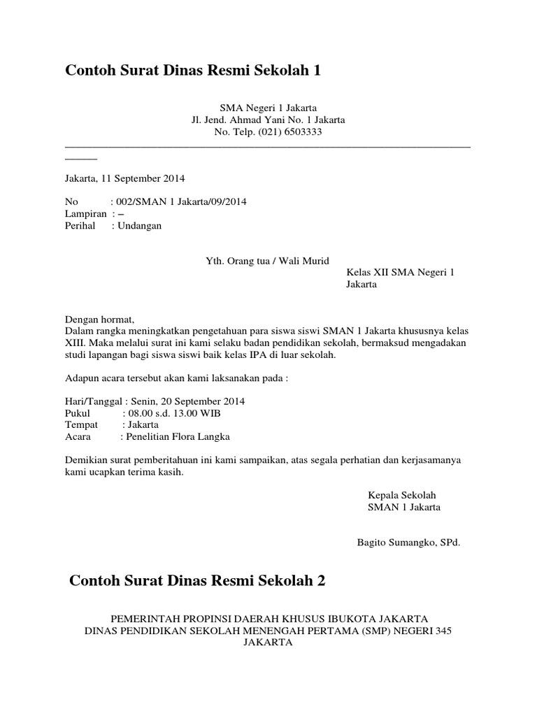 Contoh Surat Dinas Resmi Sekolah 1
