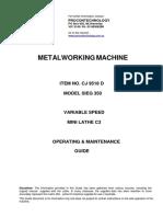 Metalworking Machine Manual