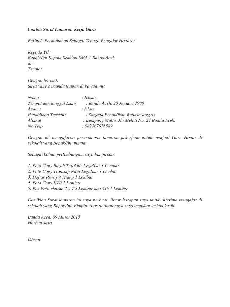 Contoh Surat Lamaran Kerja Gurudocx