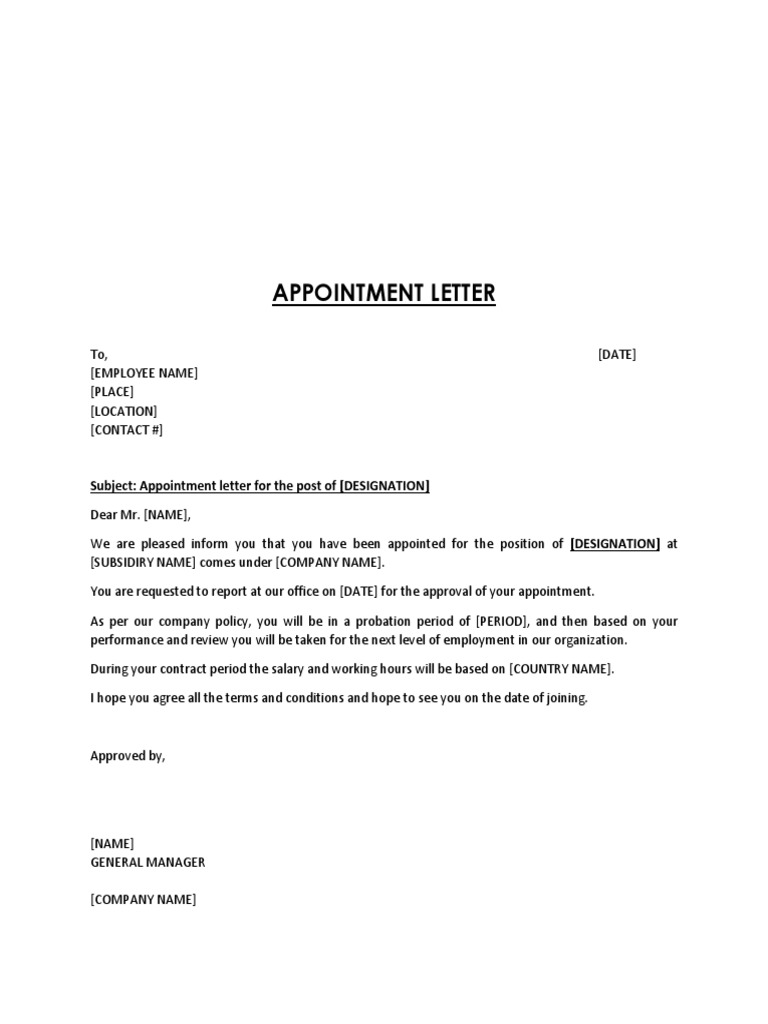 Appointment Letter Housekeeping Template